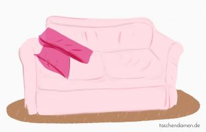 Das rosa Sofa der Taschendamen.